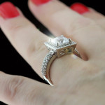 Custom Pave Princess cut Engagement Ring