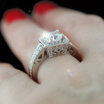 Custom Antique Asscher cut Engagement Ring
