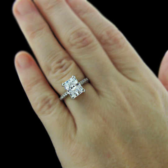 1 carat Radiant Cut Diamond Halo Engagement Ring