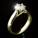 Calista Solitaire Engagement Ring with Man Made Diamond in Yellow Gold