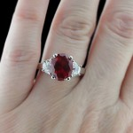 Celestial Three Stone Ring with Oval Ruby