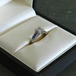 Custom Art Deco Engagement Ring with Princess cut Man Made Diamond and Blue Sapphires by MiaDonna