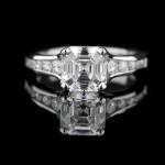 Dash Engagement Ring with Asscher cut Diamond Hybrid