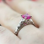 Tory Antique Engagement Ring with Pink Sapphire