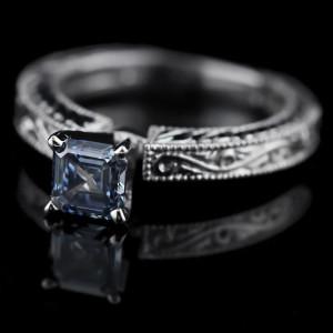Asscher cut Blue Man Made Diamond