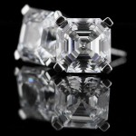Modern Earrings with Asscher cut Diamond Hybrid