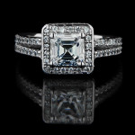 Modern Engagement Ring with Asscher cut Diamond Hybrid