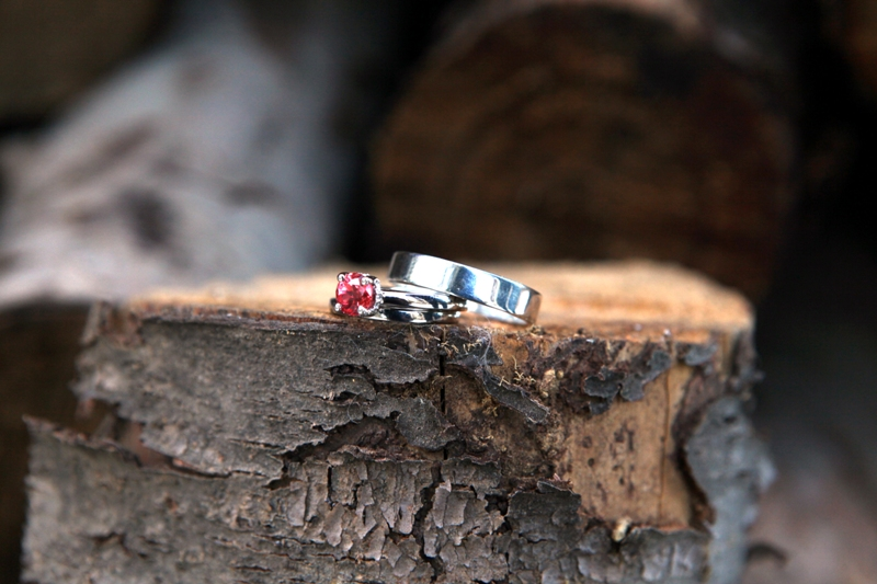 Stefania Engagement Ring with Lab Created Padparadscha Sapphire by MiaDonna