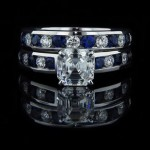 Customized Wedding Set | Lab Created Blue Sapphires | Something New Something Blue | MiaDonna Diamond Blog