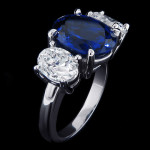 Twilight Three Stone Ring | Lab Created Blue Sapphire | Something New Something Blue | MiaDonna Diamond Blog