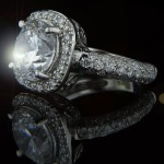 Custom Designed Engagement Ring | Round cut center with Cushion shape halo| MiaDonna