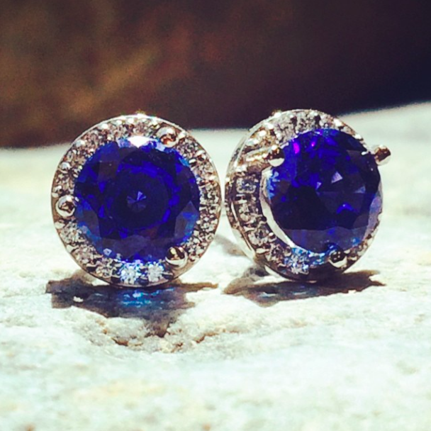 Diamond Halo Earrings | Martini Earrings | Blue Sapphire Earrings | MiaDonna.com