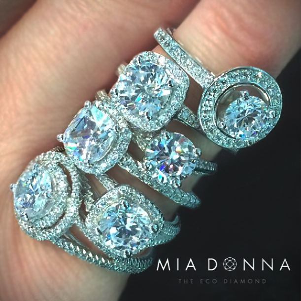 Halo Engagement Rings | Man Made Diamonds | MiaDonna.com