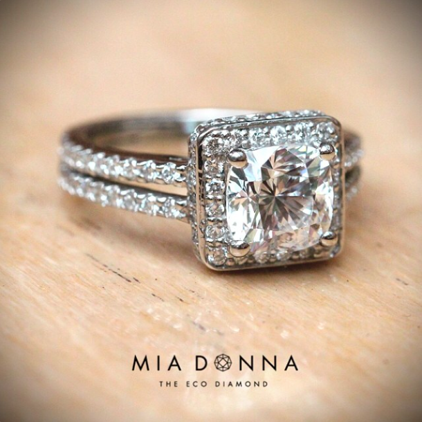 Halo Engagement Ring| Princess Cut | Kenya Engagement Ring by MiaDonna