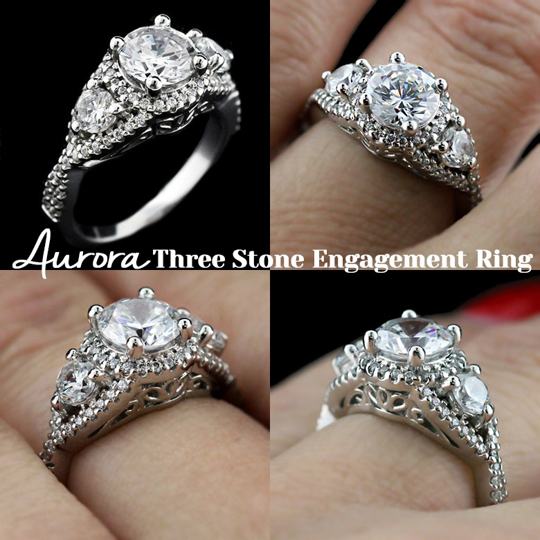 Aurora Vintage Three Stone Engagement Ring | MiaDonna New Arrivals