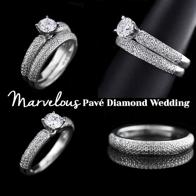Marvelous Pavé Diamond Wedding Ring Set | MiaDonna New Arrivals