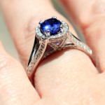 Friday Favorite | Kat Antique Engagement Ring | White Gold with Blue Sapphire