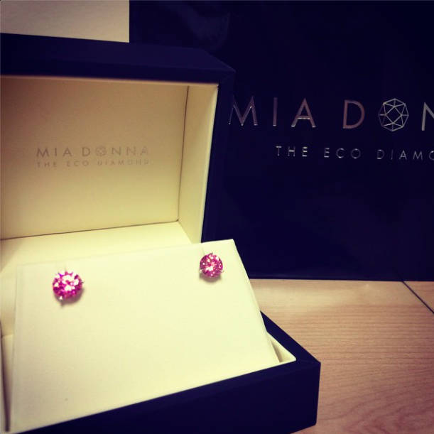 We love Gemstones | Lab Created Pink Sapphire Earrings by MiaDonna