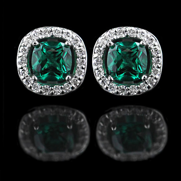 2015 New Year's Eve Proposal | Last Minute Bling | Antique Diamond Halo Earrings | Cushion cut Emerald