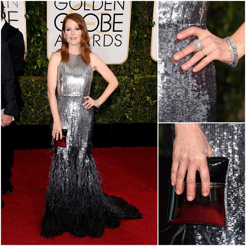 Golden Globes Top Fashion Trends | Metallics | Julianne Moore