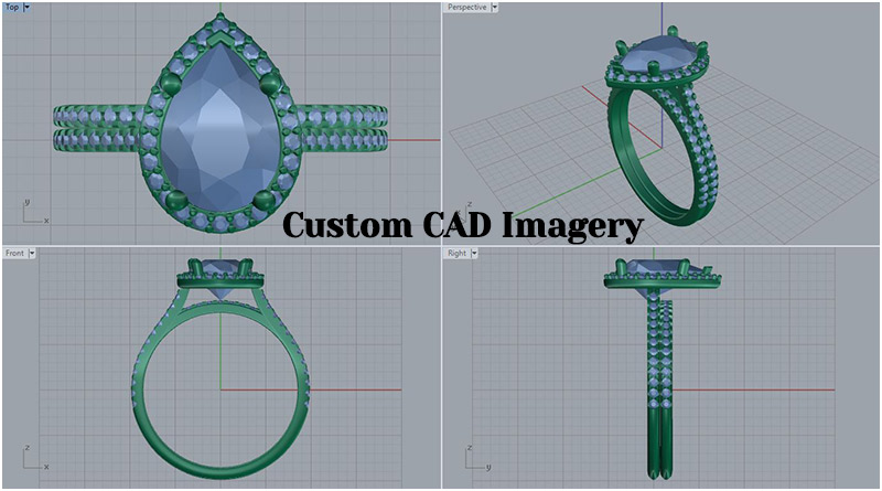 Custom Engagement Ring Design | CAD Imagery | Custom Diamond Halo Wedding Set