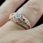 Marsala Man-Made Diamonds | Pantone color of the year 2015 | Rose Gold | Gwen Antique Engagement Ring