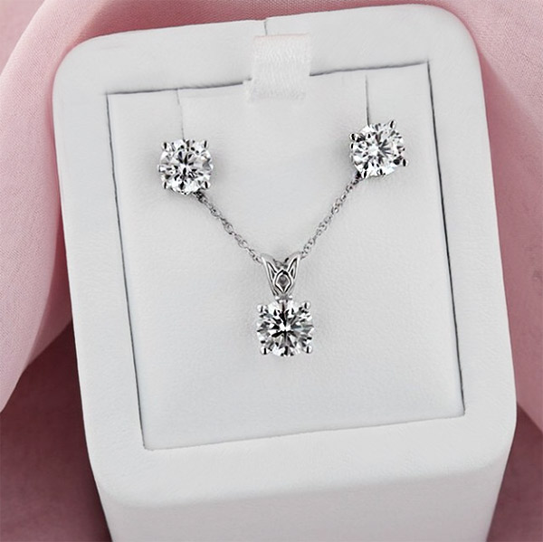 Modern Anniversary Gifts | Lab-Created Diamond Pendant and Earring Set | MiaDonna