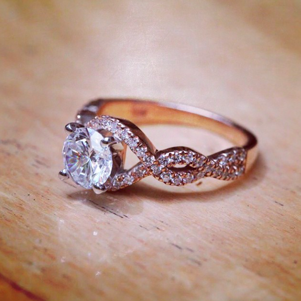 Modern Anniversary Gifts | Rose Gold and Lab Created Diamond Engagement Ring | MiaDonna