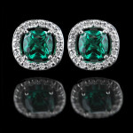 Look Gorgeous in Green Lab-Created Emeralds | Diamond Halo Earrings