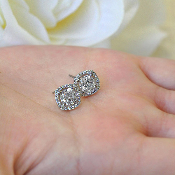April Birthday - Lab-Created Engagement Rings are the perfect gift   Diamond Halo Earrings   MiaDonna