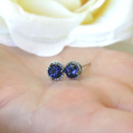 Man-Made Diamonds for Mother's Day | Lab-Created Blue Sapphire | Diamond Halo Earrings