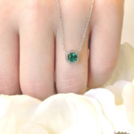 Man-Made Diamonds for Mother's Day | Lab Created Emerald | Halo Diamond Pendant