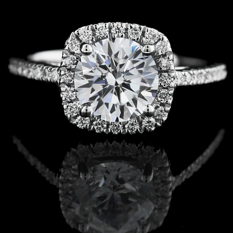 10 Tips for Buying the Perfect Man-Made Diamond Engagement Ring | Round cut Diamond in Cushion Halo | MiaDonna
