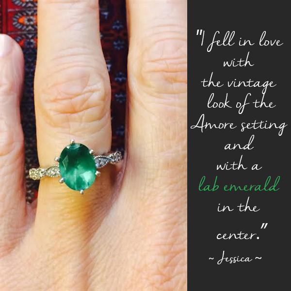 May Birthstone | Emerald | Amore Antique Engagement Ring with a Lab-Created Gemstone