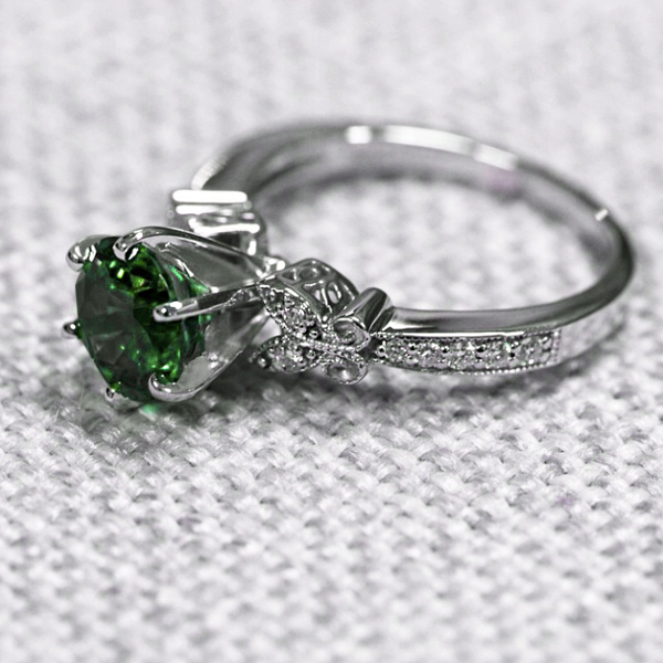 May Birthstone | Emerald | Charisma Engagement Ring with an Emerald Lab-Created Gemstone | MiaDonna