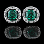 May Birthstone | Emerald | Diamond Halo Earrings with a Lab-Created Gemstone