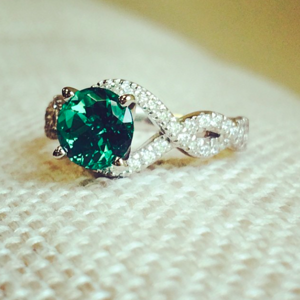 May Birthstone | Emerald | Infinity Engagement Ring with a Lab-Created Gemstone
