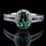 May-Birthstone | Emerald | Kenya Engagement Ring with a Lab-Created Gemstone