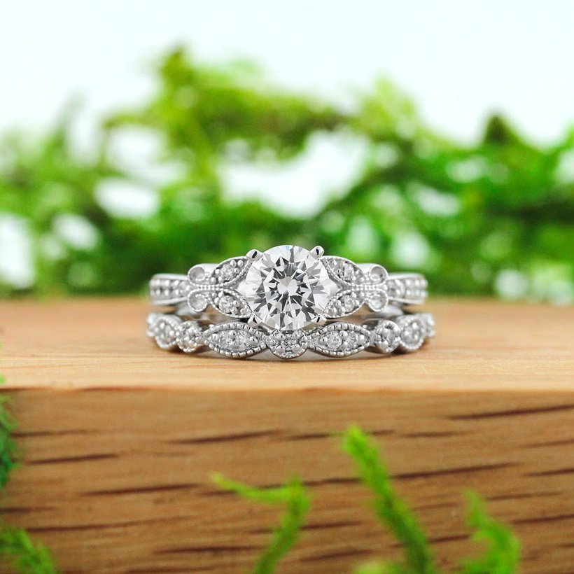 The World Famous Diamond Hybrid | Charisma Engagement Ring and Amore Wedding Band Engagement Ring |MiaDonna