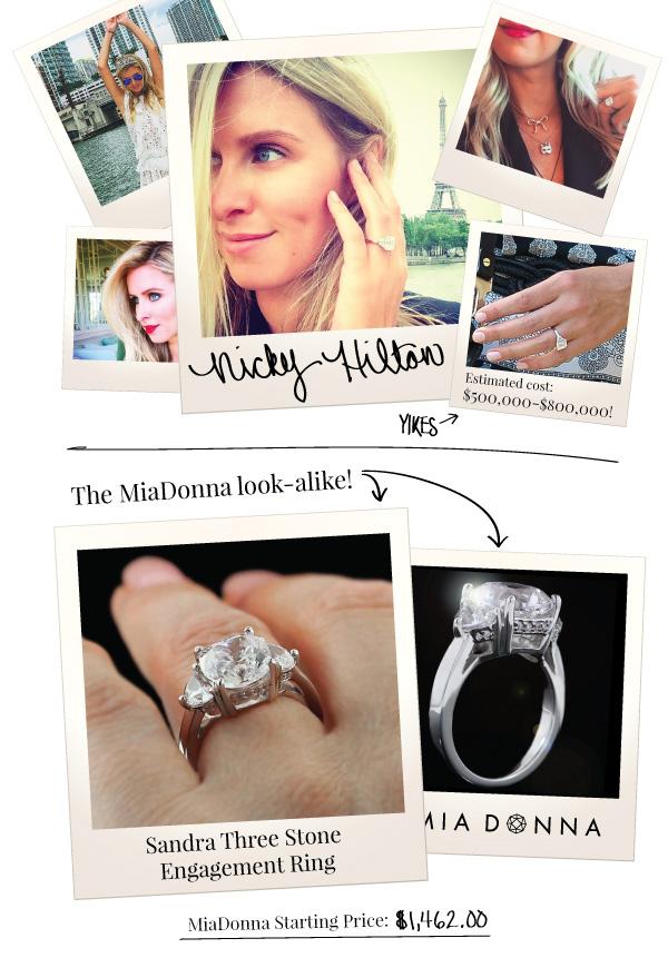 Celebrity Engagement Rings - Get the MiaDonna Look-Alikes | Nicky Hilton_Instagram | Sandra Three Stone Ring
