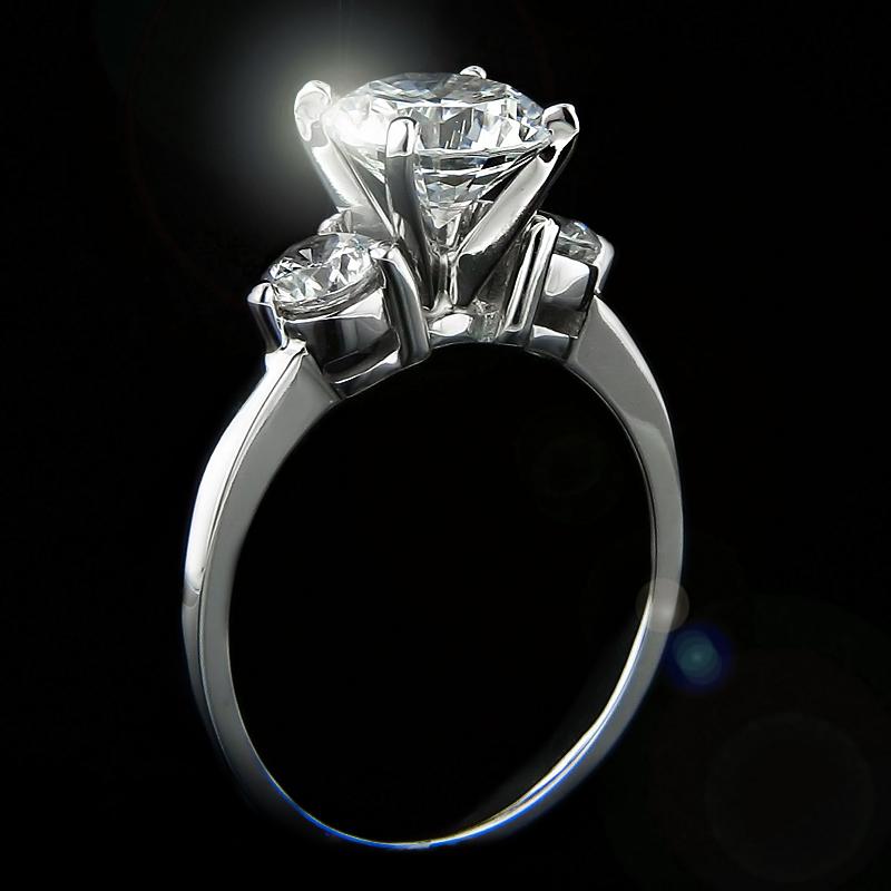 Lab-Created Diamond SALE - shop now! | Caramelo Three Stone Engagement Ring | MiaDonna