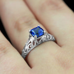 The Tory Antique Engagement Ring | Blue Sapphire | MiaDonna