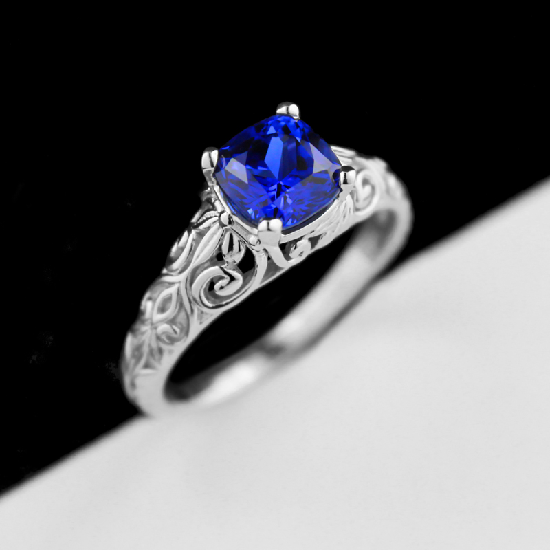 The Tory Antique Engagement Ring | Lab-Created Blue Sapphire | MiaDonna