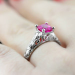 The Tory Antique Engagement Ring | Lab-Created Pink Sapphire | MiaDonna