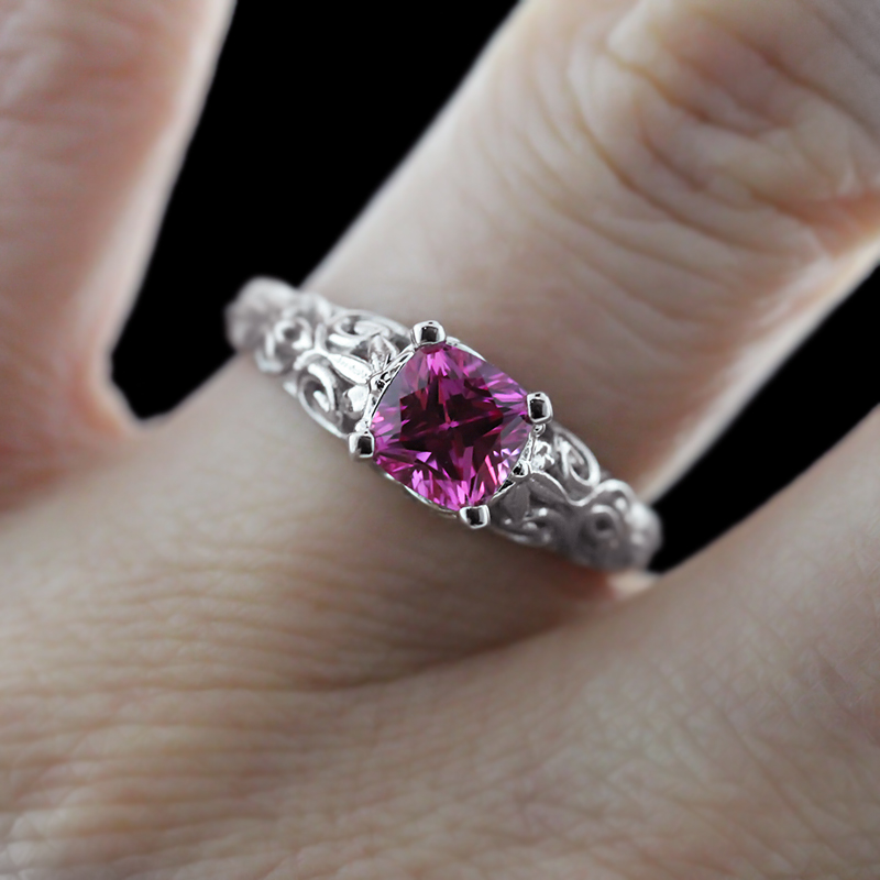 The Tory Antique Engagement Ring | Pink Sapphire | MiaDonna