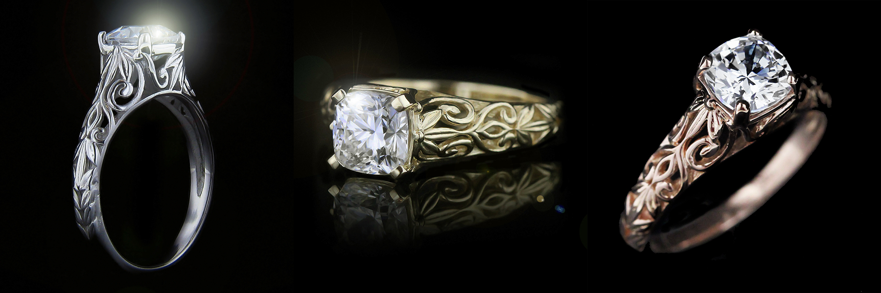 Tory Antique Engagement Ring | Choose your eco-friendly metal | MiaDonna