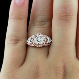 Rose Gold Engagement Rings | Aurora Three Stone Ring