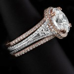 Rose Gold Engagement Rings | Two-tone Kat with matching Rose Gold Bands