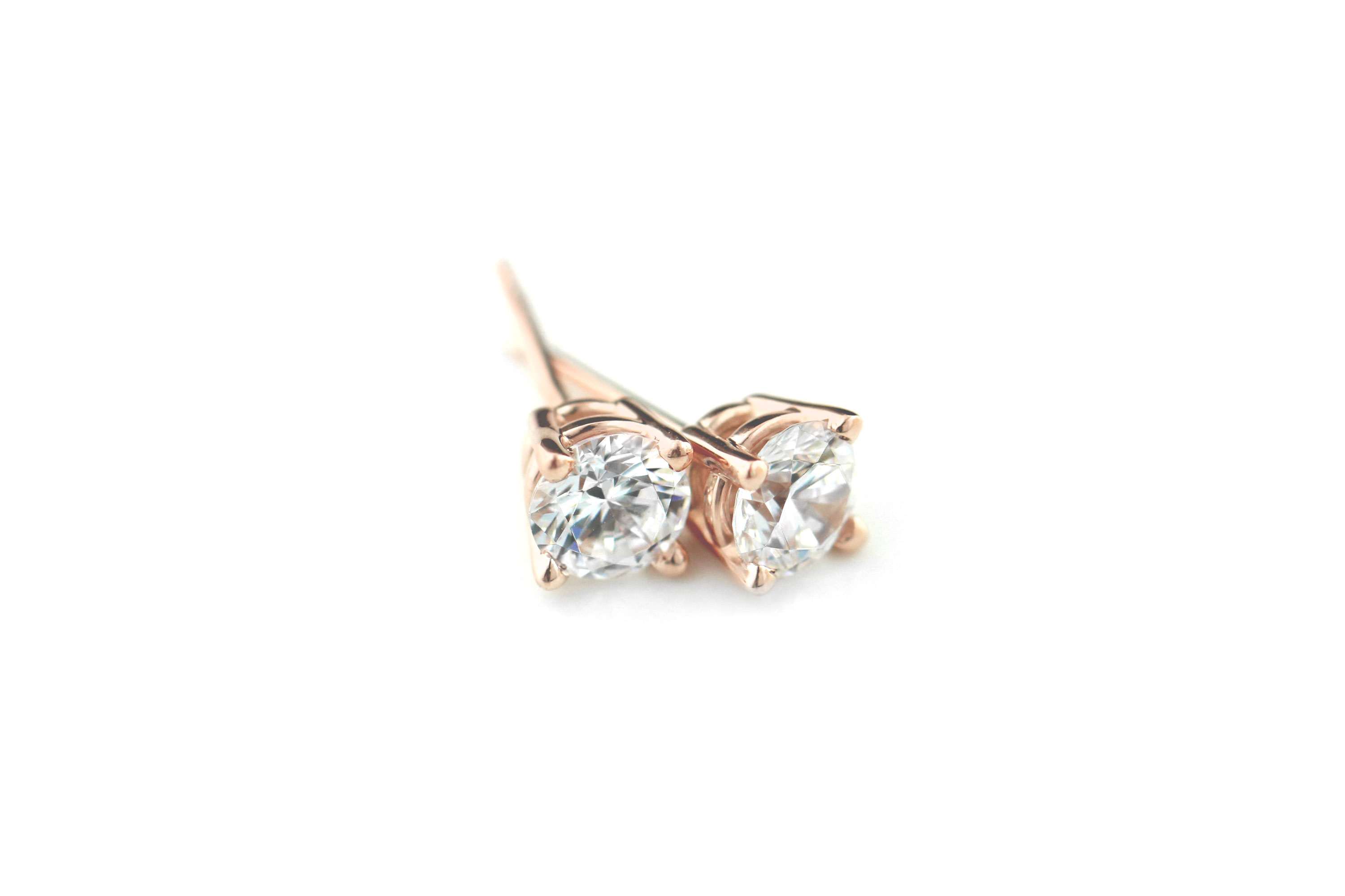 This Valentine's Day instead of Roses, Give Her Rose Gold | 4 Prong Basket Earrings