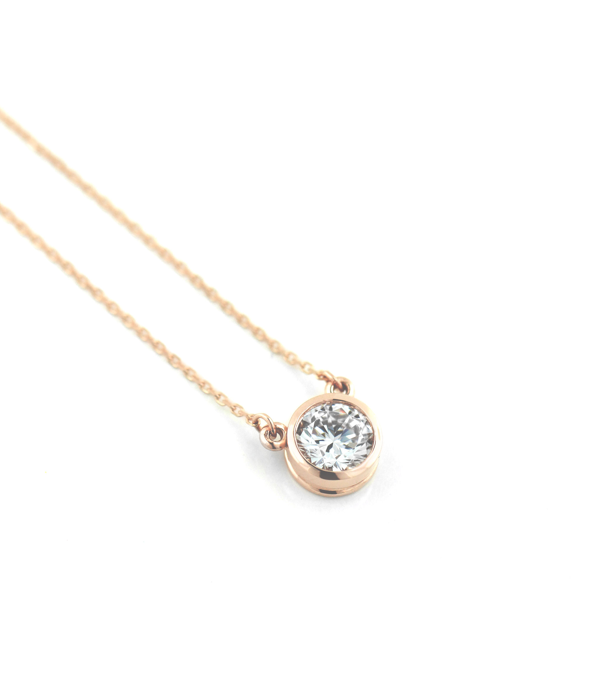 This Valentine's Day instead of Roses, Give Her Rose Gold | Rose Gold Bezel Pendant Necklace